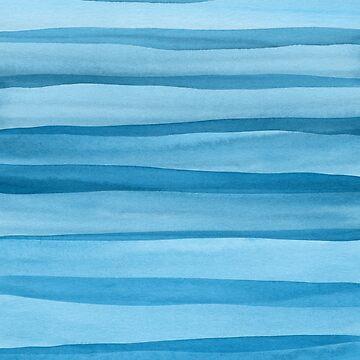 Patrón de líneas de acuarela azul de blueskywhimsy