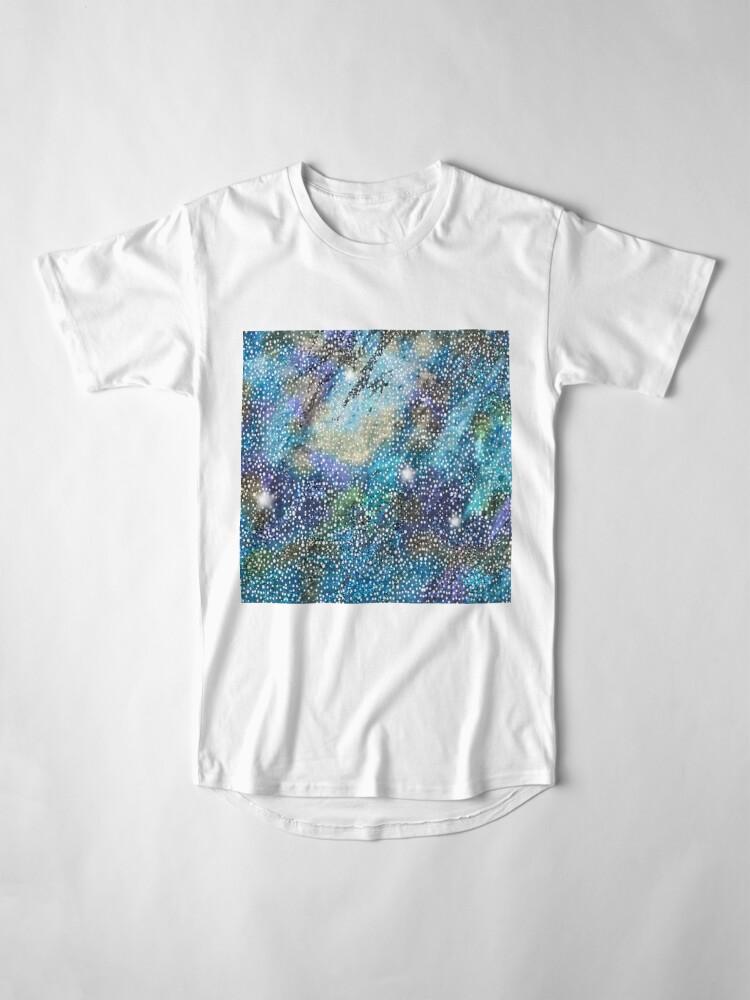 Alternate view of RB201, Bling Look Textiles, Fabrics, Bluish w/Stars Long T-Shirt