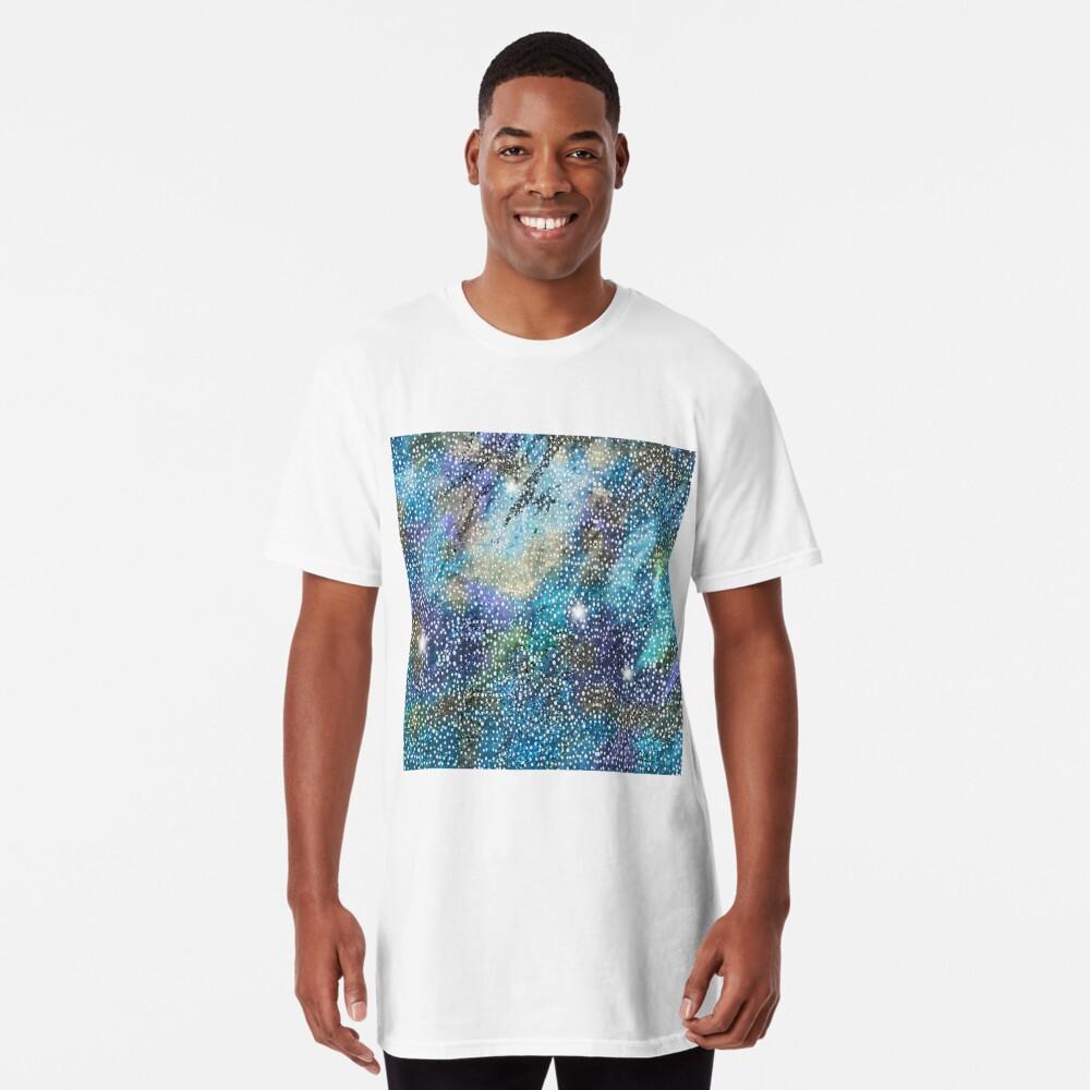 RB201, Bling Look Textiles, Fabrics, Bluish w/Stars Long T-Shirt