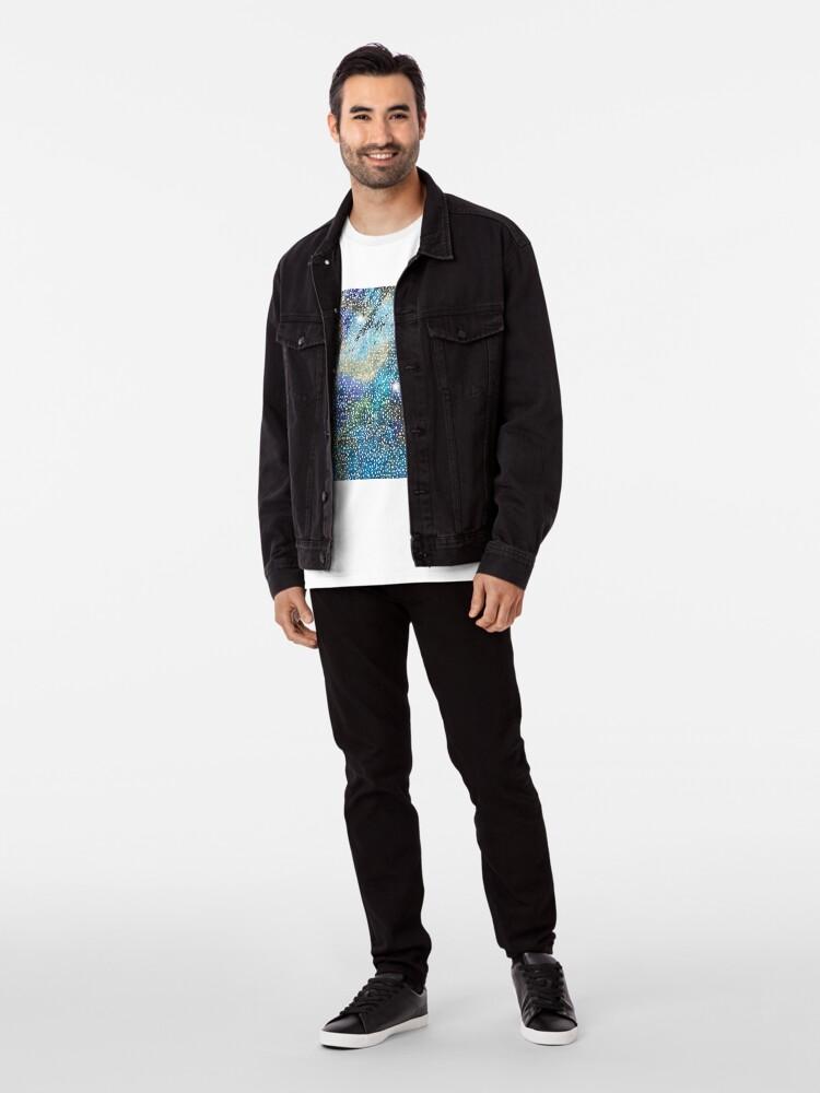 Alternate view of RB201, Bling Look Textiles, Fabrics, Bluish w/Stars Premium T-Shirt