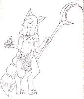 Fox Shaman B&W by LibraryDrone