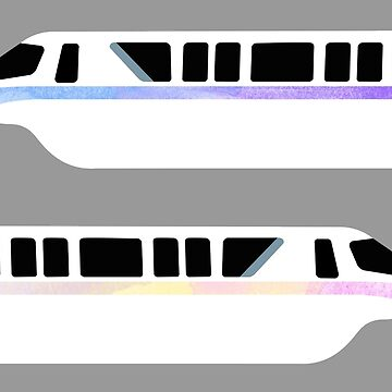 Minimal Monorail Watercolor by FandomTrading