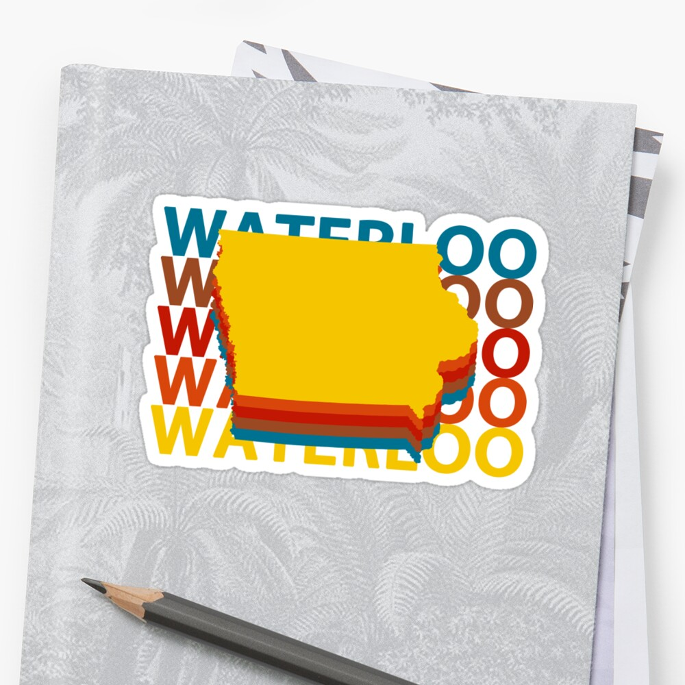 Waterloo Iowa Souvenirs IA Repeat Sticker Front