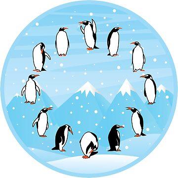 12 Pinguine Uhr von KsuAnn