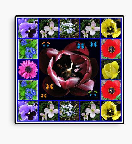 Spring Flowers Collage with Butterflies Leinwanddruck