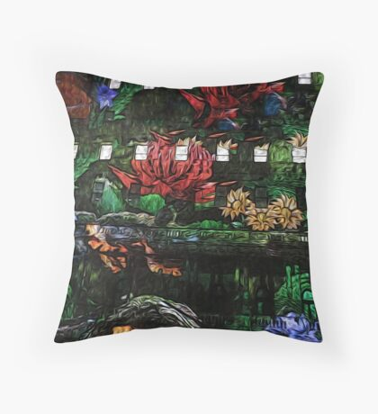 Flowers in the Clocktower Throw Pillow