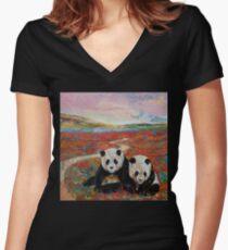Panda Paradise Women's Fitted V-Neck T-Shirt