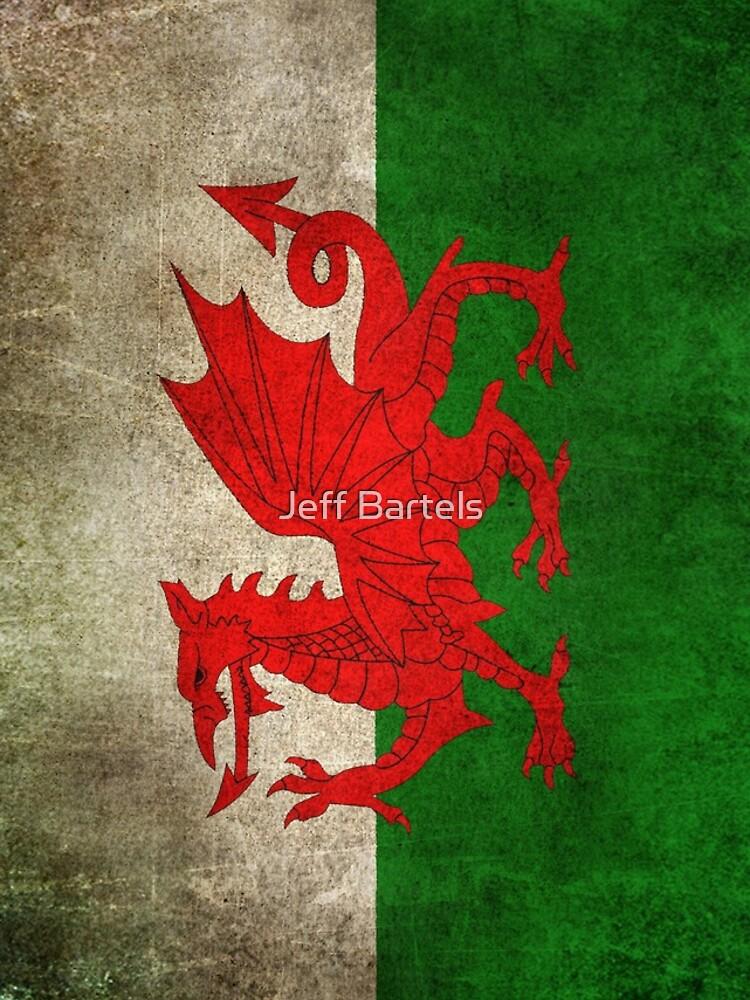 Viejo y gastado angustiado Vintage Bandera de Gales de JeffBartels