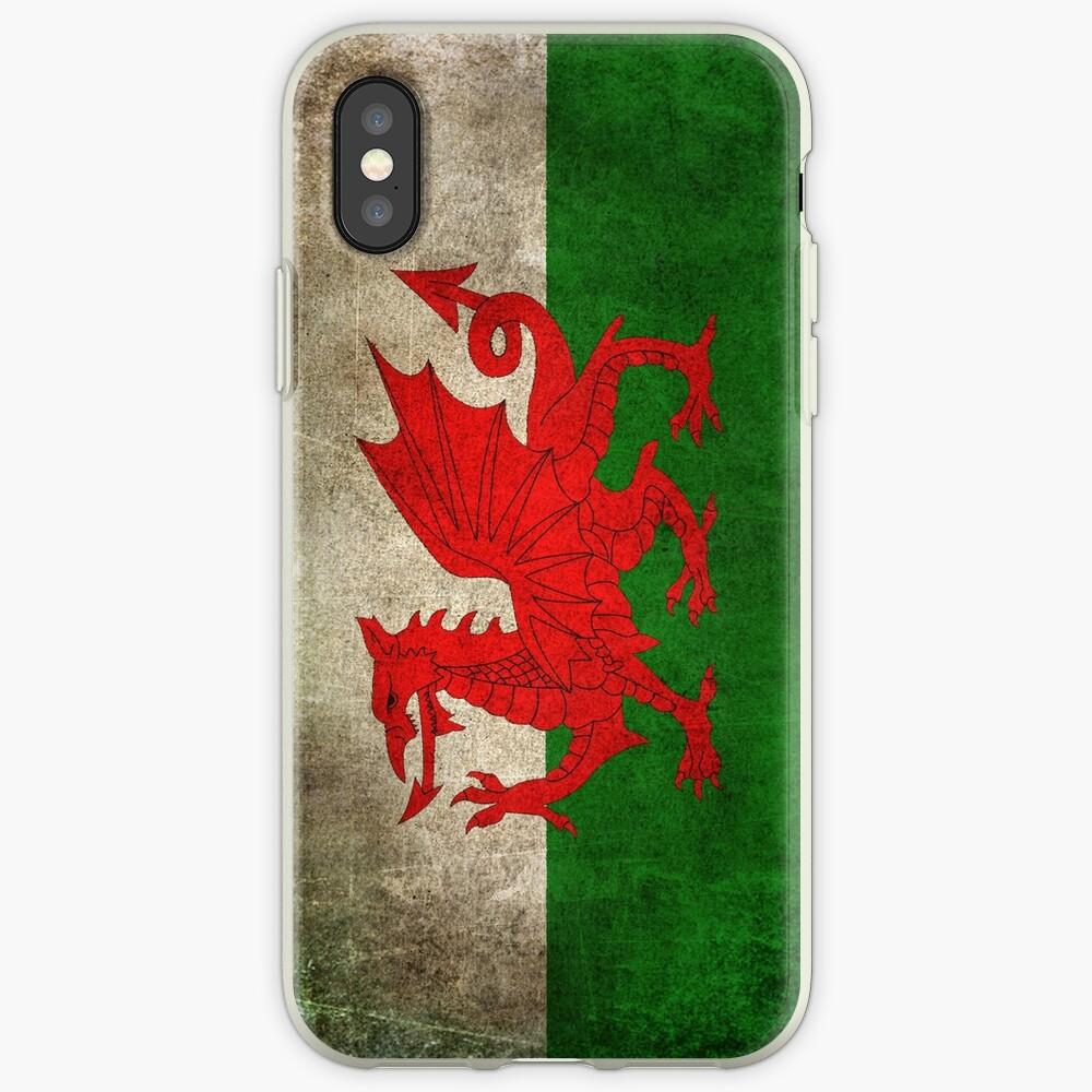 Viejo y gastado angustiado Vintage Bandera de Gales Vinilos y fundas para iPhone