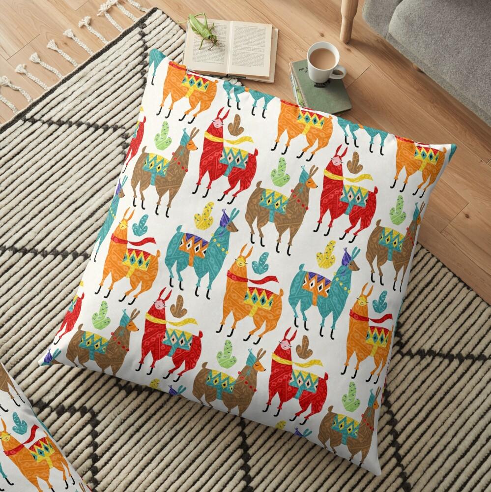 color llamas Floor Pillow