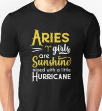 Aries Girls Are Sunshine Mixed With A Little Hurricane Zodiac Star Sign Birthday Horoscope Gift Idea Unisex T-Shirt
