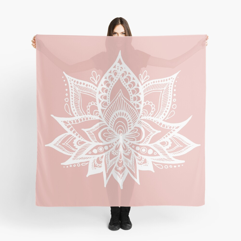 White Lotus Flower on Rose Gold Scarf Front