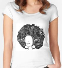Pen & Ink  Drawing | Women's Afro  Women's Fitted Scoop T-Shirt