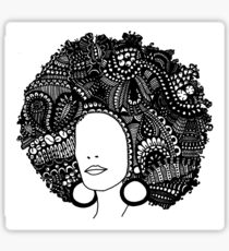 Pen & Ink  Drawing | Women's Afro  Sticker