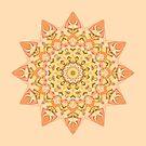 Boho Peach Kaleidoscope Mandala by Kitty Bitty