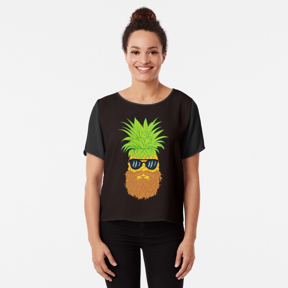 Bearded Fruit Cool Pineapple Graphic T-shirt Sunglasses Mustache Old Juicy Summer Beach Holidays Chiffon Top
