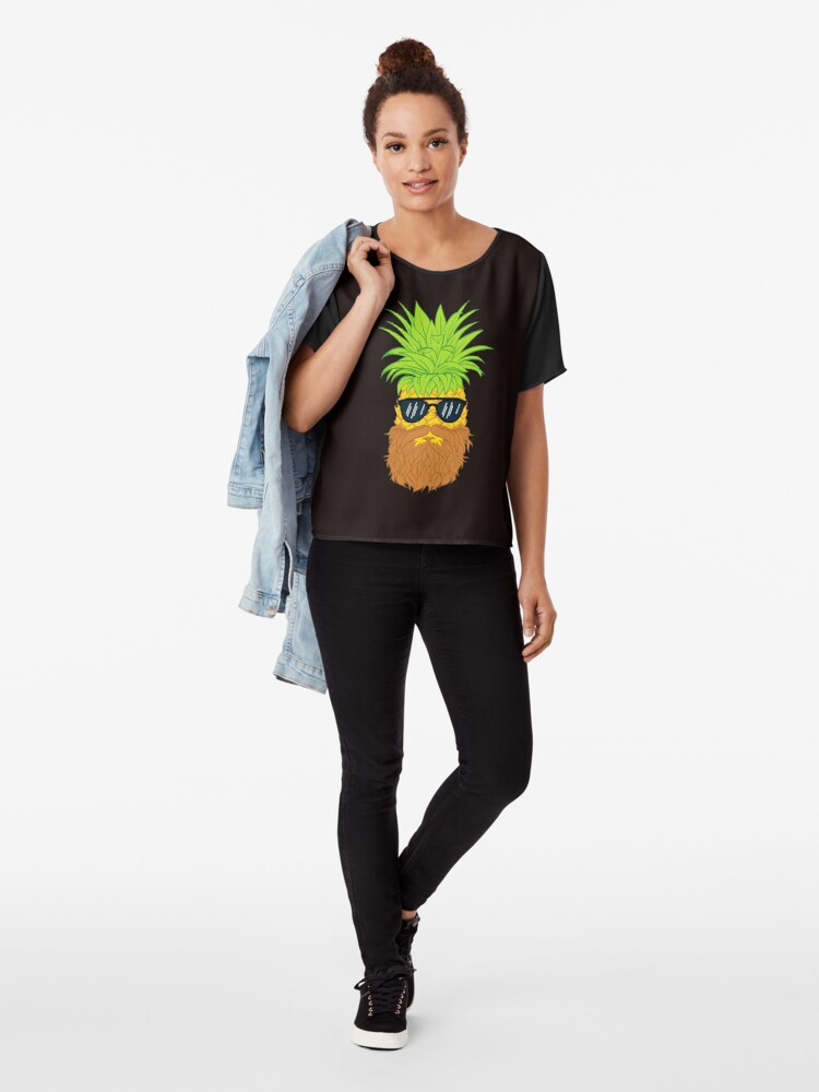 Alternate view of Bearded Fruit Cool Pineapple Graphic T-shirt Sunglasses Mustache Old Juicy Summer Beach Holidays Chiffon Top