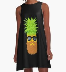 Bearded Fruit Cool Pineapple Graphic T-shirt Sunglasses Mustache Old Juicy Summer Beach Holidays A-Line Dress