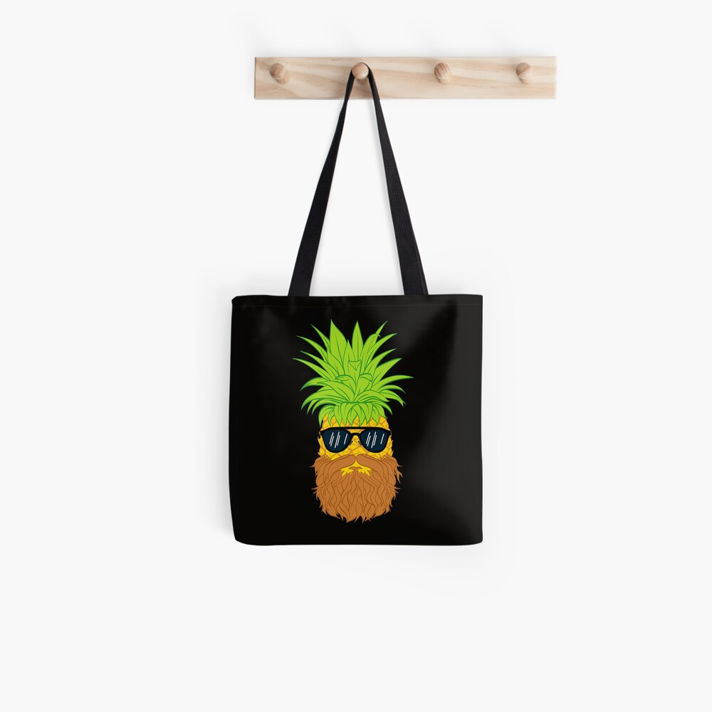 Bearded Fruit Cool Pineapple Graphic T-shirt Sunglasses Mustache Old Juicy Summer Beach Holidays Tote Bag
