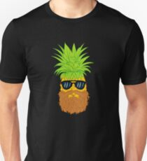 Bearded Fruit Cool Pineapple Graphic T-shirt Sunglasses Mustache Old Juicy Summer Beach Holidays Slim Fit T-Shirt
