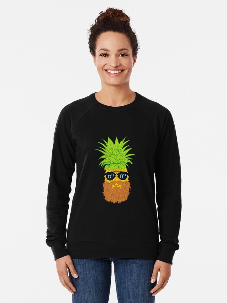 Alternate view of Bearded Fruit Cool Pineapple Graphic T-shirt Sunglasses Mustache Old Juicy Summer Beach Holidays Lightweight Sweatshirt