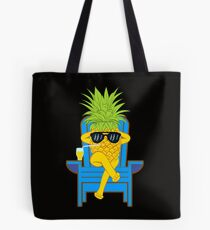 Fruit Cool Pineapple With Sunglasses Graphic T-shirt Summer Sun Drinking Juice Holidays Relaxing  Tote Bag