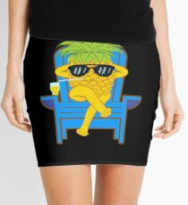 Fruit Cool Pineapple With Sunglasses Graphic T-shirt Summer Sun Drinking Juice Holidays Relaxing  Mini Skirt