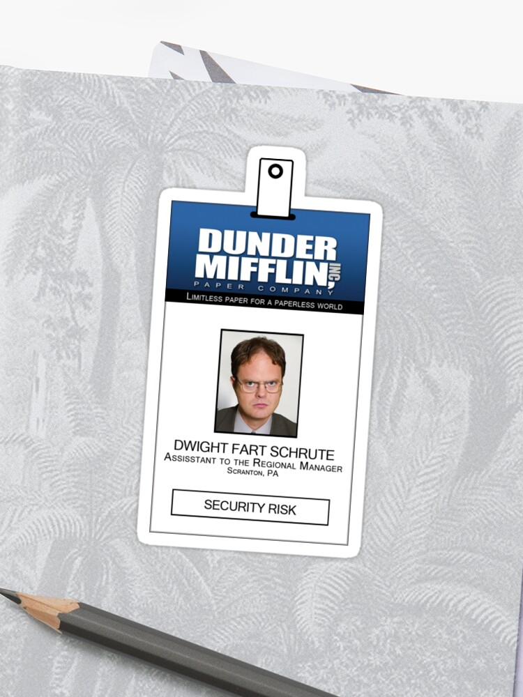 graphic about Dwight Schrute Id Badge Printable referred to as Dwight Schrute The Place of work Identity Badge Blouse Sticker