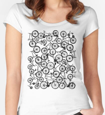 Pile of Black Bicycles Women's Fitted Scoop T-Shirt