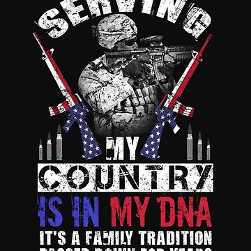 Vintage US Military Family Its In My DNA USA Soldier Flag Tshirt Weathered 2 by normaltshirts