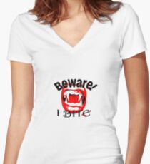 Beware I Bite Women's Fitted V-Neck T-Shirt
