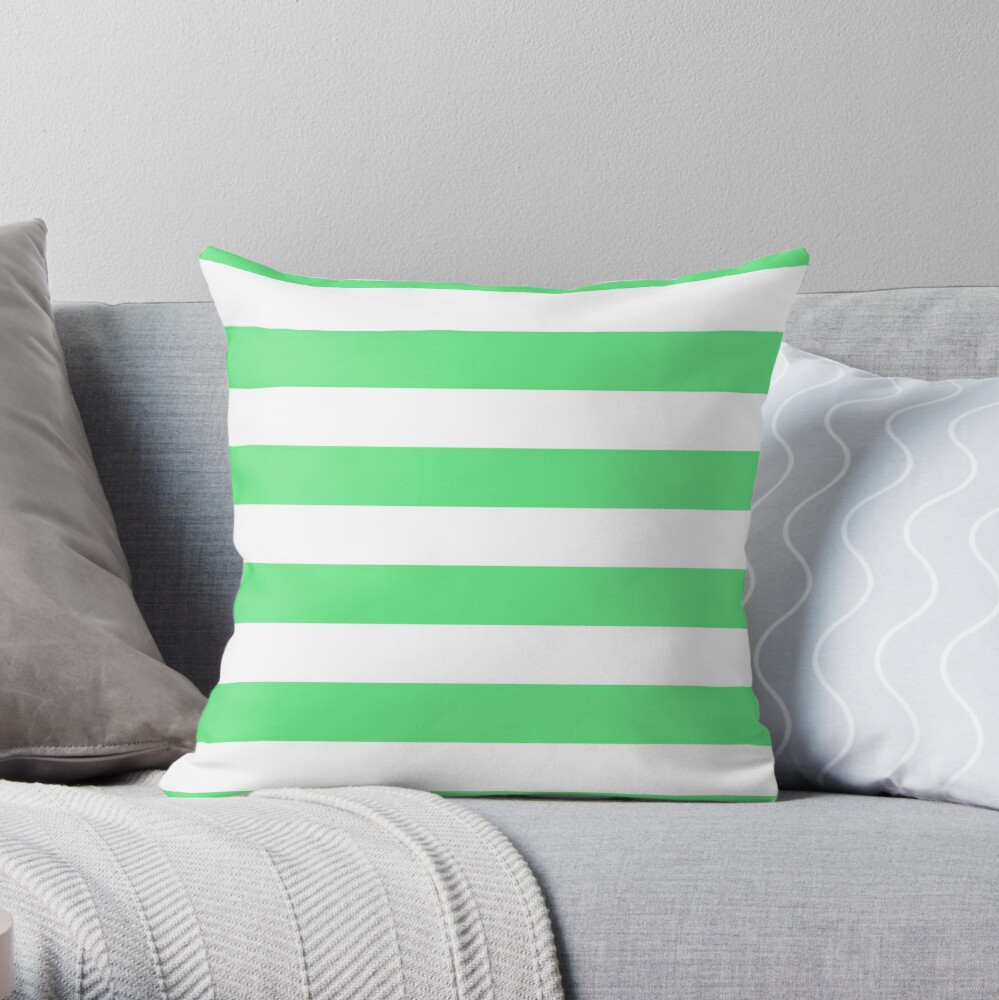 Algae Green and White Horizontal Cabana Tent Stripes Throw Pillow