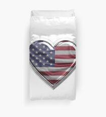 America Heart American Flag design Gift For USA Patriots Duvet Cover