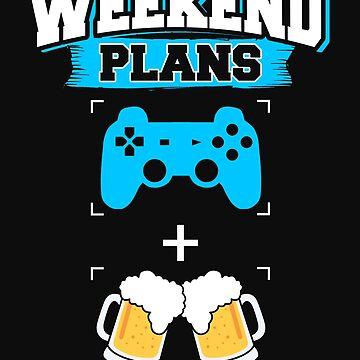 Funny Gaming Beer Drinking Weekend Plans Gamer Blue by normaltshirts