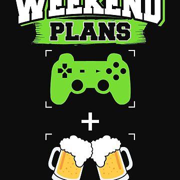 Funny Gaming Beer Drinking Weekend Plans Gamer by normaltshirts