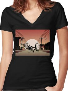 Sunset Suburban Women's Fitted V-Neck T-Shirt