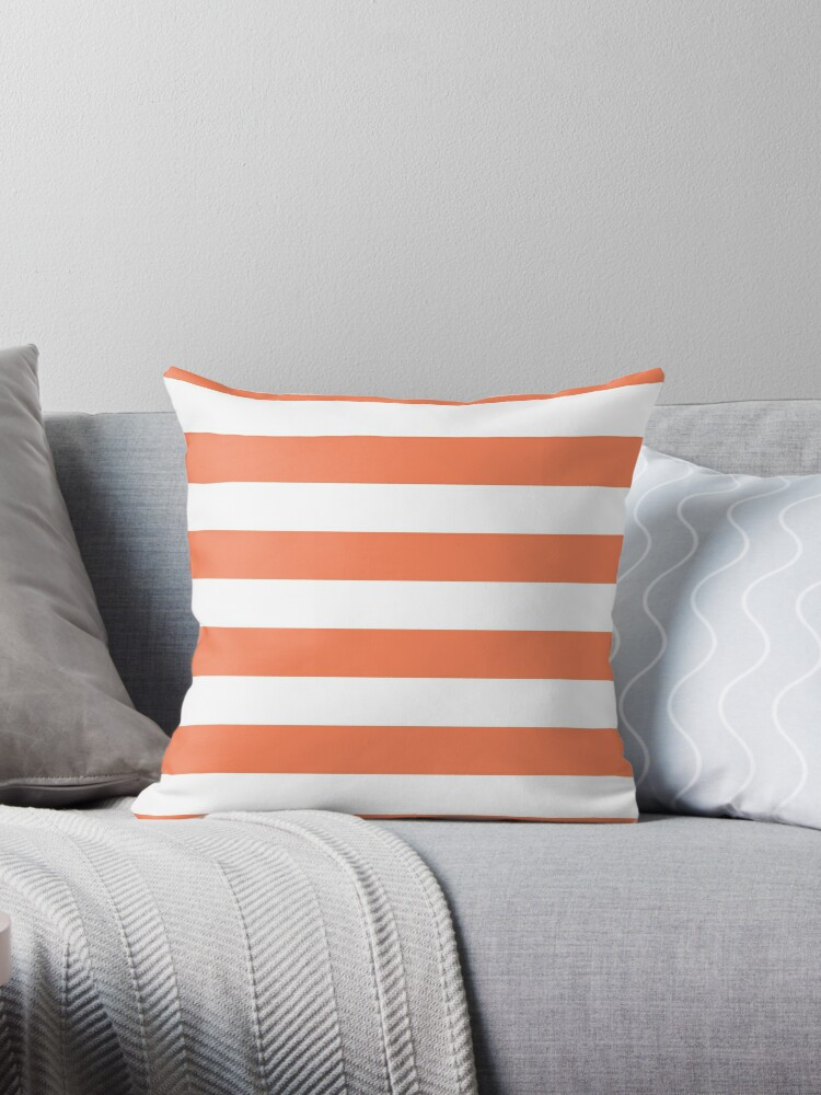 Large Basket Ball Orange and White Horizontal Cabana Tent Stripes by honorandobey