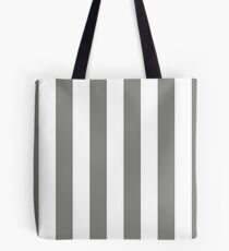 Large Battleship Gray and White Vertical Cabana Tent Stripes Tote Bag