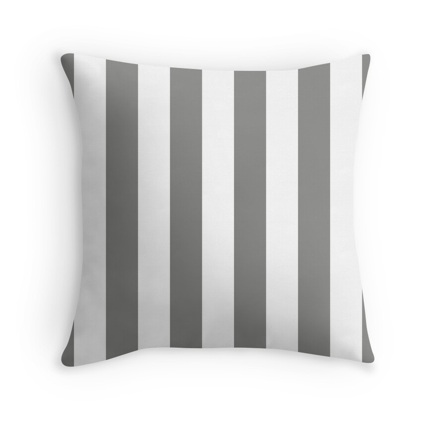Large Battleship Gray and White Vertical Cabana Tent Stripes