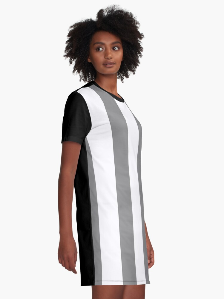 Alternate view of Large Battleship Gray and White Vertical Cabana Tent Stripes Graphic T-Shirt Dress