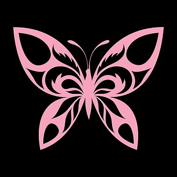 Cute Pink Butterfly Tribal Art Tribe Floral Paleo Cave Tattoo Design by DogBoo