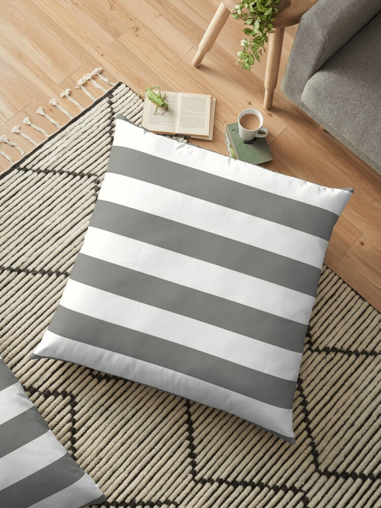 Large Battleship Gray and White Horizontal Cabana Tent Stripes by honorandobey