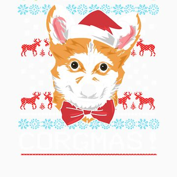 Merry Corgmas Corgi Christmas Ugly Sweater T-Shirt by Tigarlily