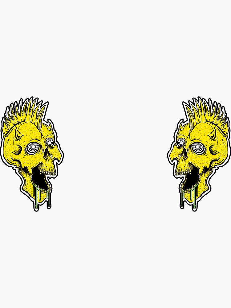Quot Laughing Skull Drooling With Mohawk Quot Sticker By