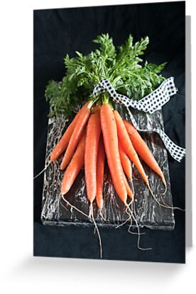 Carrots on Black by Ilva Beretta