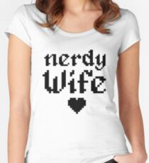 Nerdy Wife Wedding Anniversary Gift Pixel Heart Women's Fitted Scoop T-Shirt