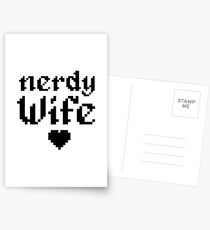 Nerdy Wife Wedding Anniversary Gift Pixel Heart Postcards
