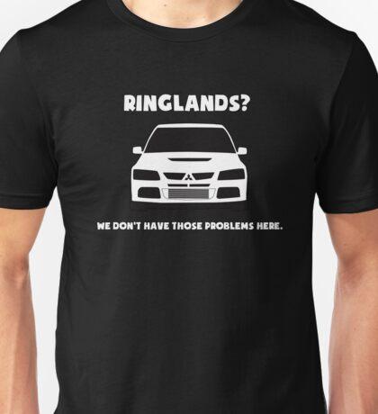 'Ringlands? We Dont Have Those Problems Here' Mitsubishi Evo Gag Design Sticker / Tee Unisex T-Shirt