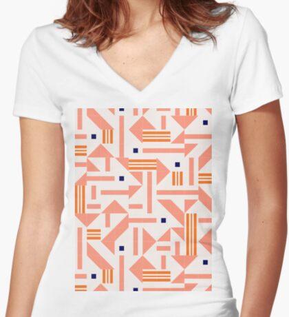 Random Tiles #redbubble #pattern Fitted V-Neck T-Shirt