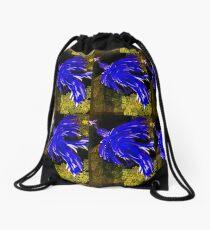 psycho chicken-cobalt blue Drawstring Bag